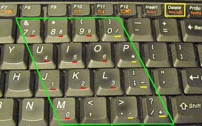 Включенный Num Lock на ноутбуке