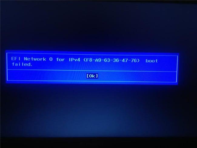 Ошибка EFI Network 0 for IPv4 boot failed на ноутбуках Lenovo