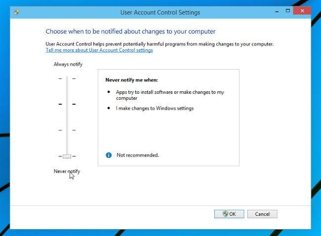 Изменить уровень UAC в Windows 10