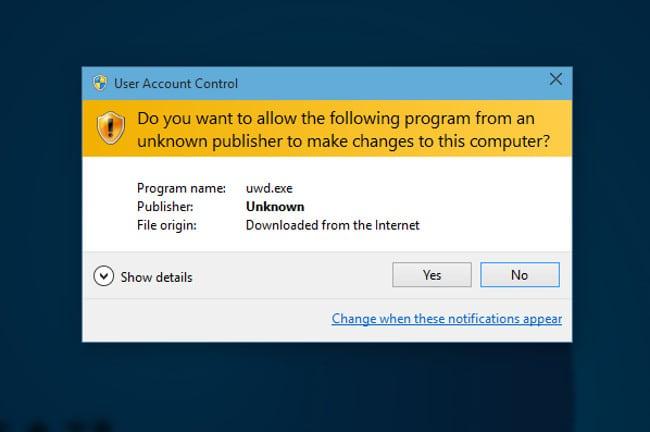 Сообщение UAC в Windows 10
