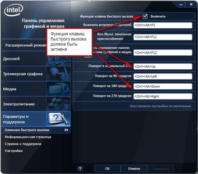 Список горячих клавиш Intel HD