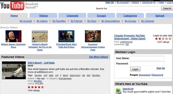 Так выглядел сайт Ютуба ранее