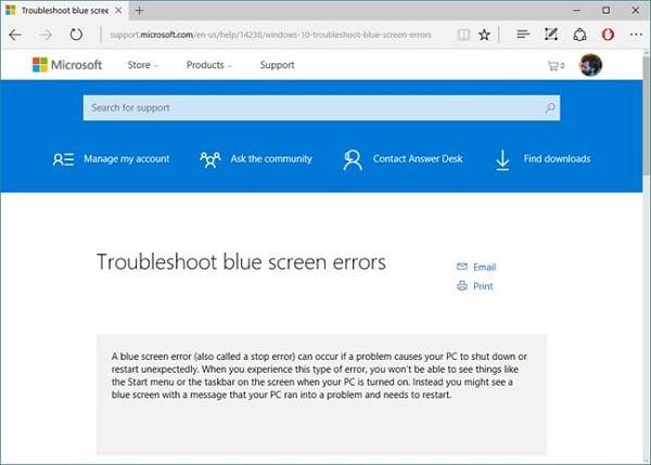 По переходу на Windows.com/stopcode пользователь видит вот это