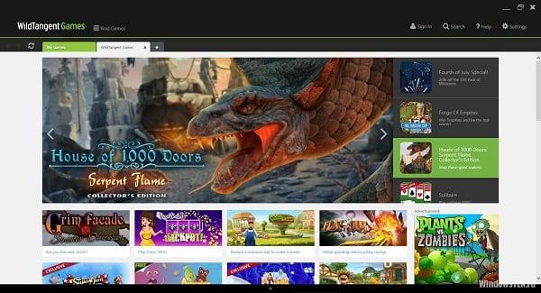 Начальная страница сервиса Wildtangent Games
