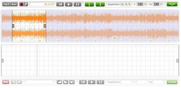 Выбираем отрезок мелодий в Mp3cut.foxcom