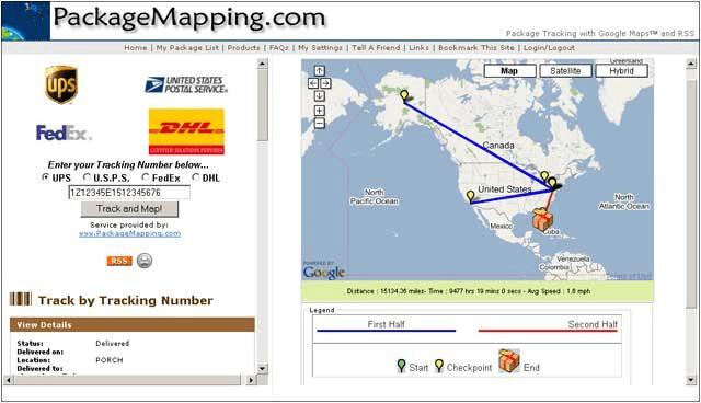 Сервис packagemapping.com позволяет отображать местонахождение и путь вашей посылке на карте