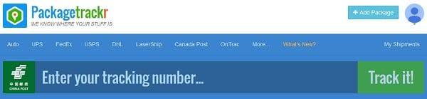 Окно для ввода трекинг-номера на сайте packagetrackr.com
