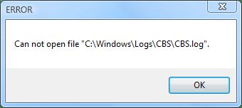 Сообщение о невозможности открытия файла CBS.log