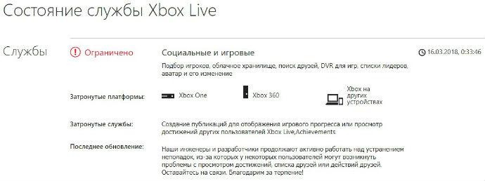 Состояние служб Xbox Live на сайте Microsoft
